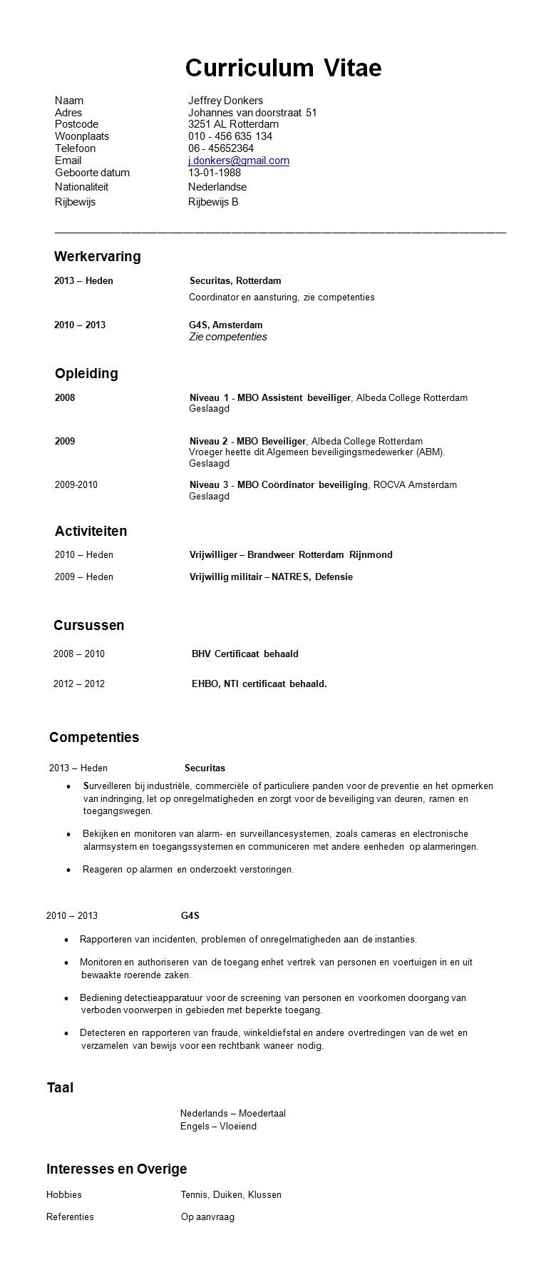 resume or curriculum vitae cv voorbeeld beveiliger gratis cv en resume or curriculum vitae 0424