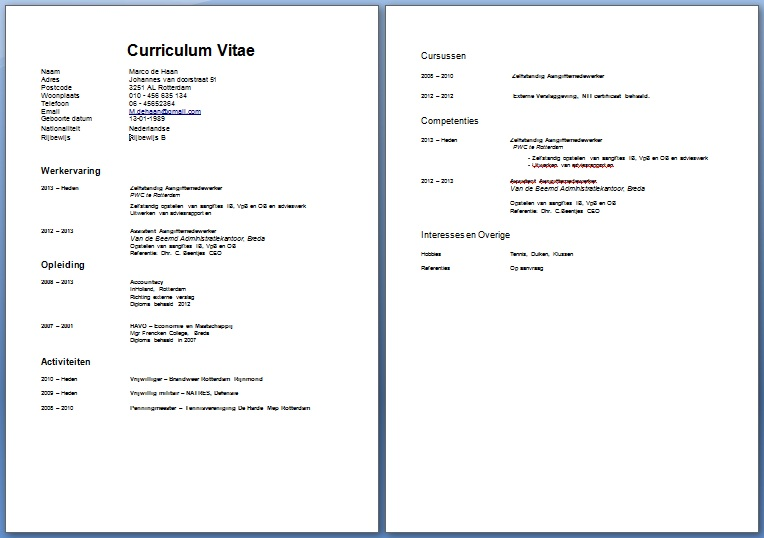 curriculum vitae downloaden - Boat.jeremyeaton.co