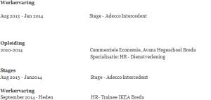 cv voorbeeld werkervaring, opleiding en stage