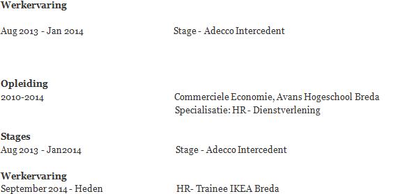voorbeeld cv werkervaring Hoe je stage vermelden op je CV | Solliciteer.net