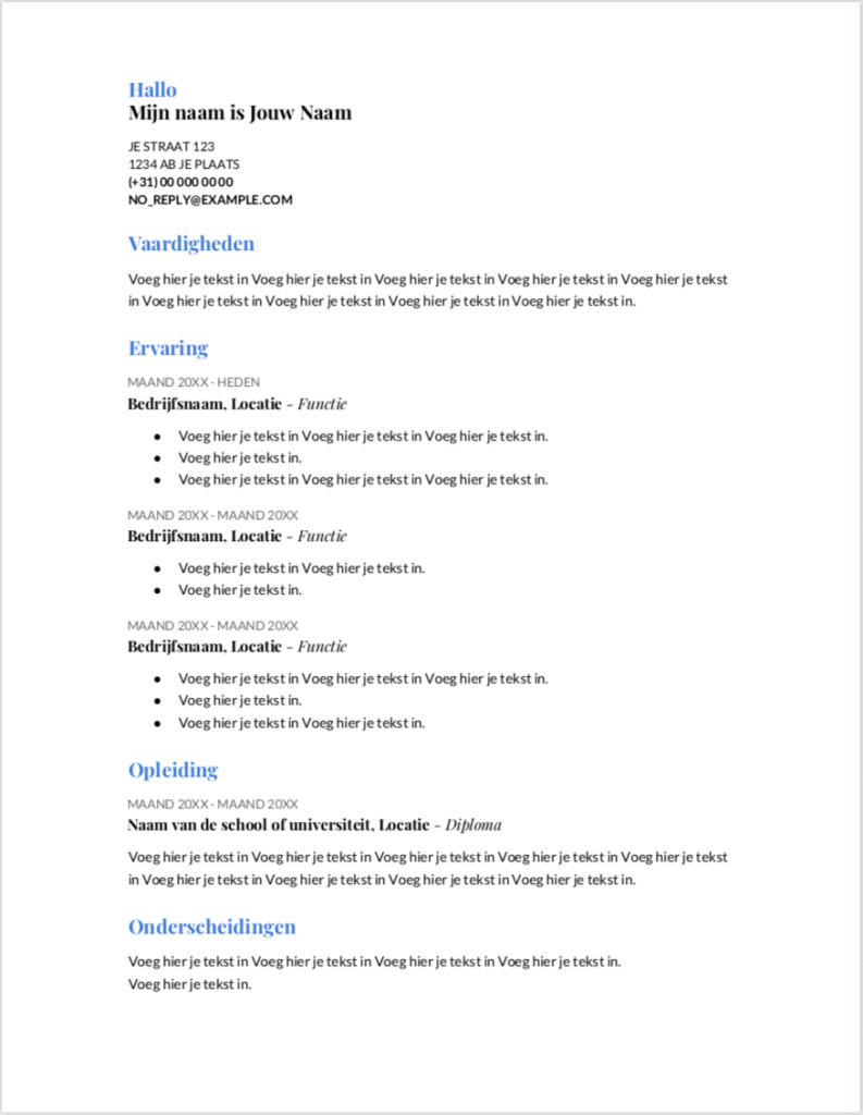 CV Sjabloon Google Docs Template 1