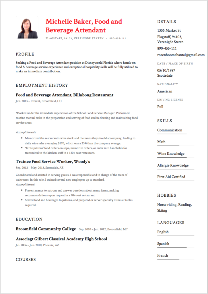 7 food and beverage attendant resume sles college