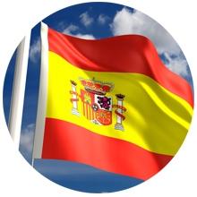 Spaanse vlag wapperd in de wind