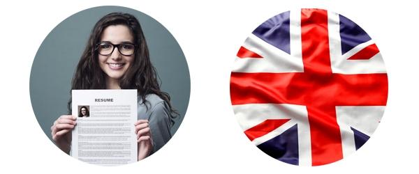 Engelse vlag en meisje met een resume
