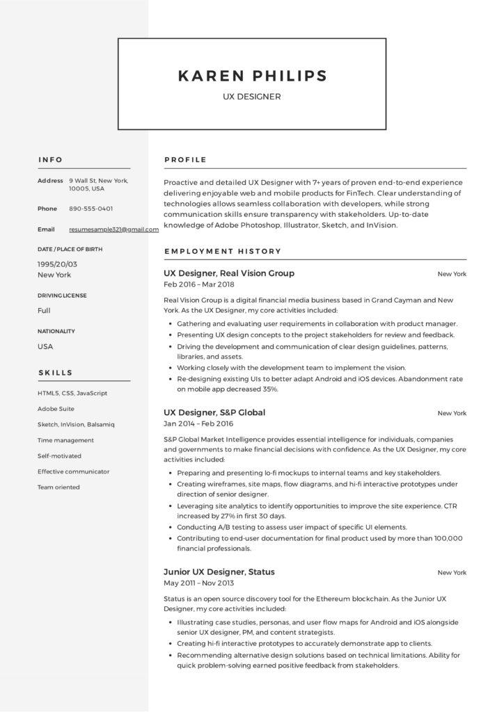 Engels CV Voorbeeld