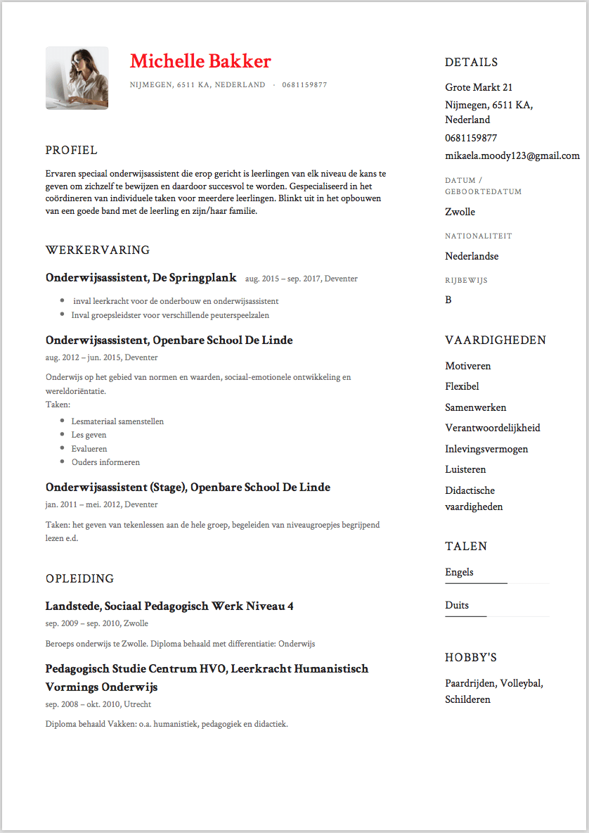 Solliciteren met een CV Voorbeeld Onderwijsassistent | Solliciteer.net