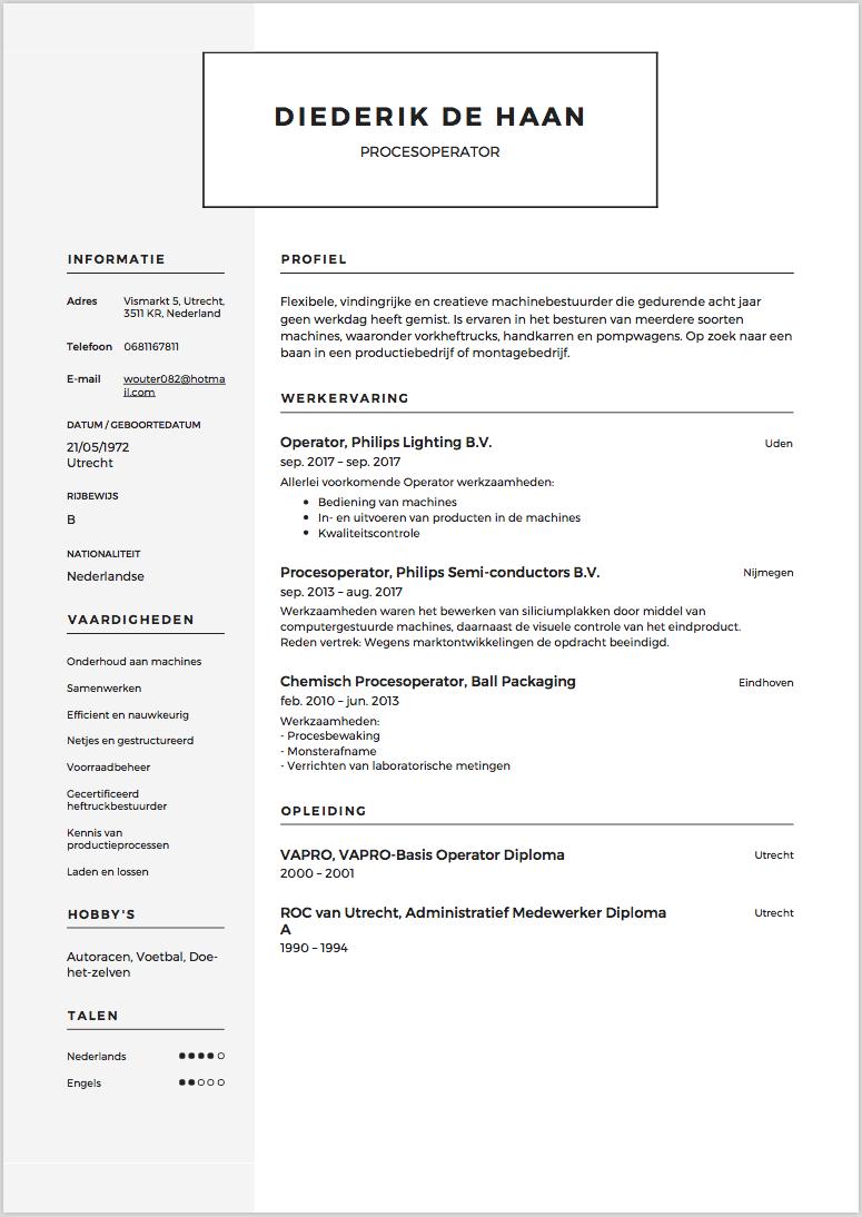 cv voorbeeld operator en machine operator solliciteer net