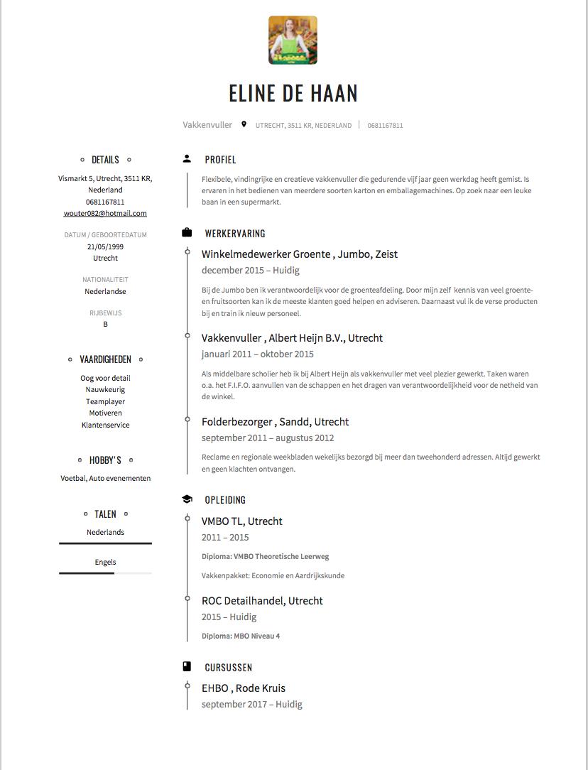 CV Voorbeeld   Vakkenvuller | Solliciteer.net