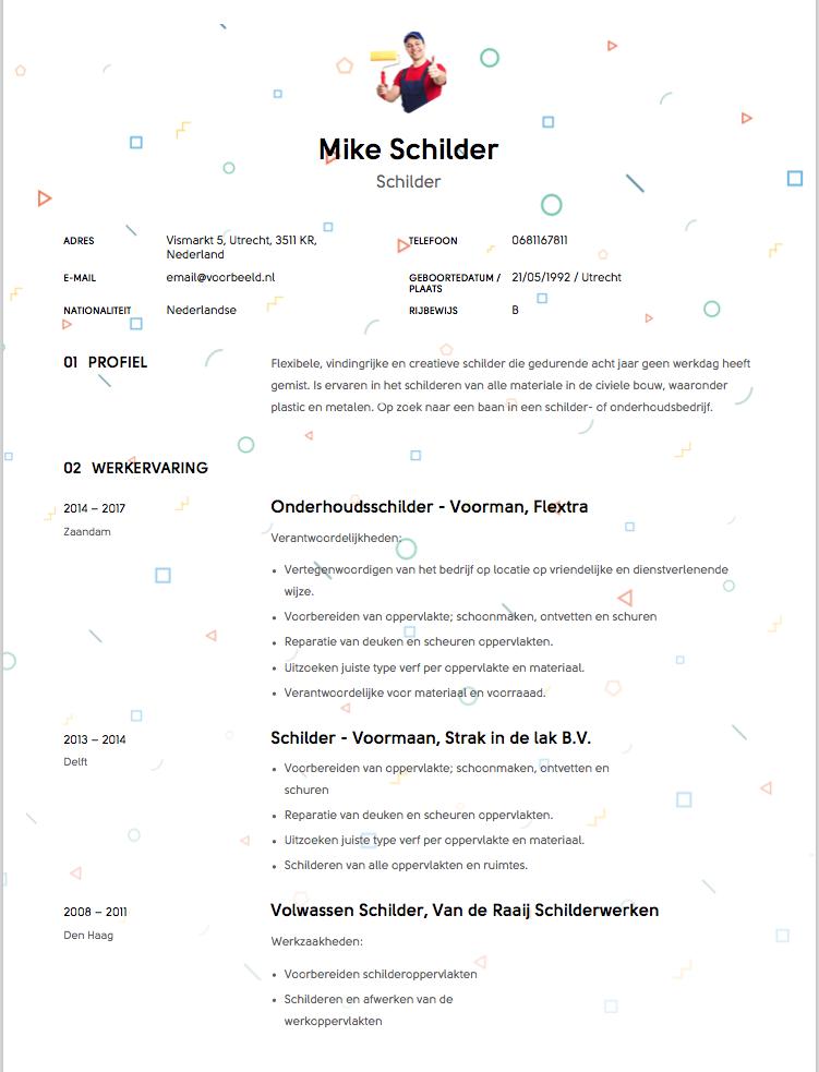 Schilder CV Voorbeeld 1