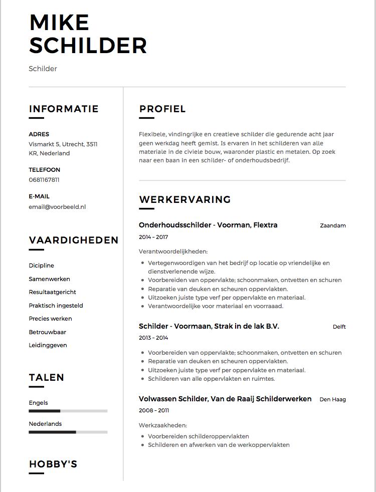 Dit CV Voorbeeld Schilder helpt je zo aan een baan! | Solliciteer.net