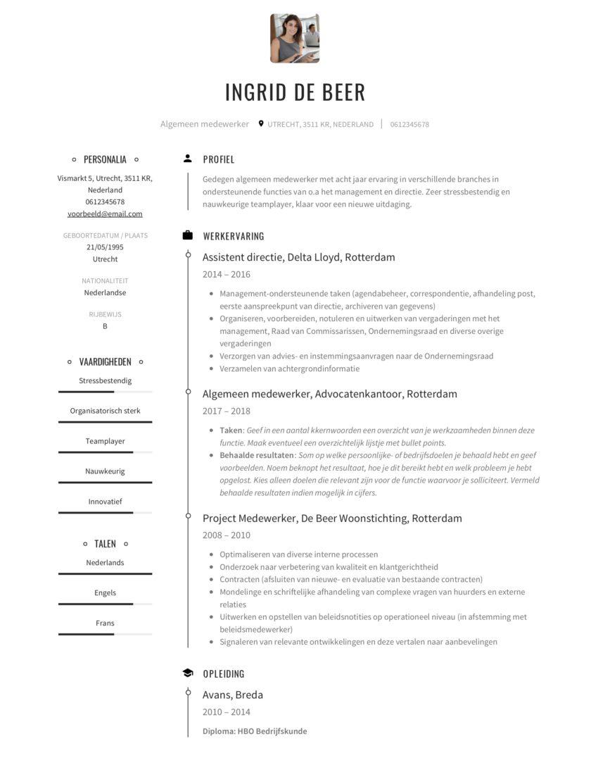 Algemeen medewerker CV Voorbeeld