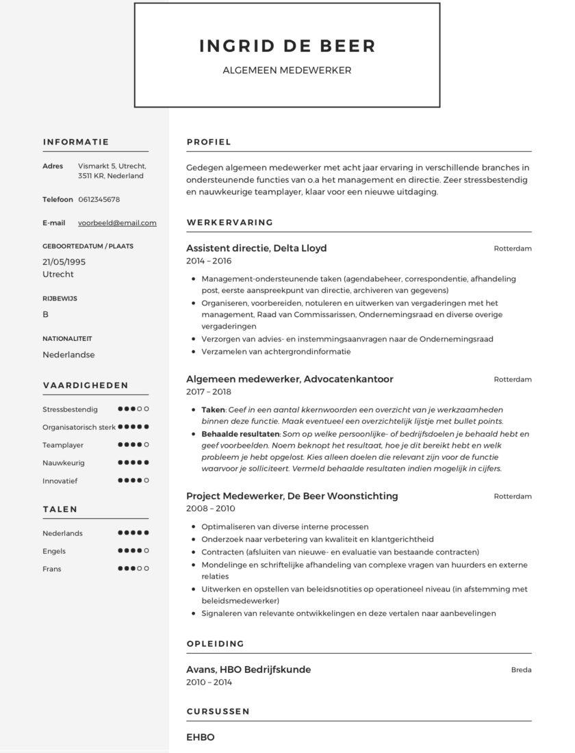 CV Voorbeeld Algemeen medewerker