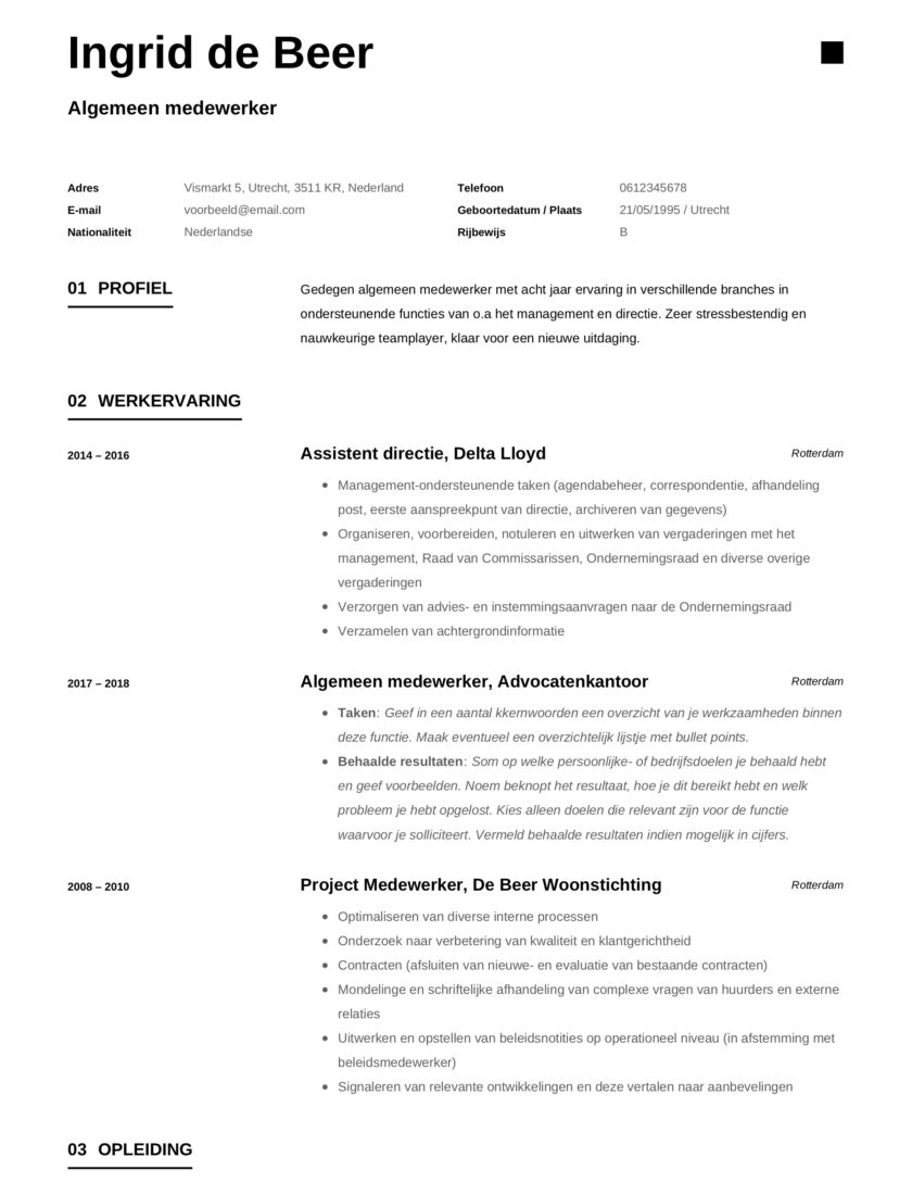 Ingrid de Beer Algemeen Medewerker CV