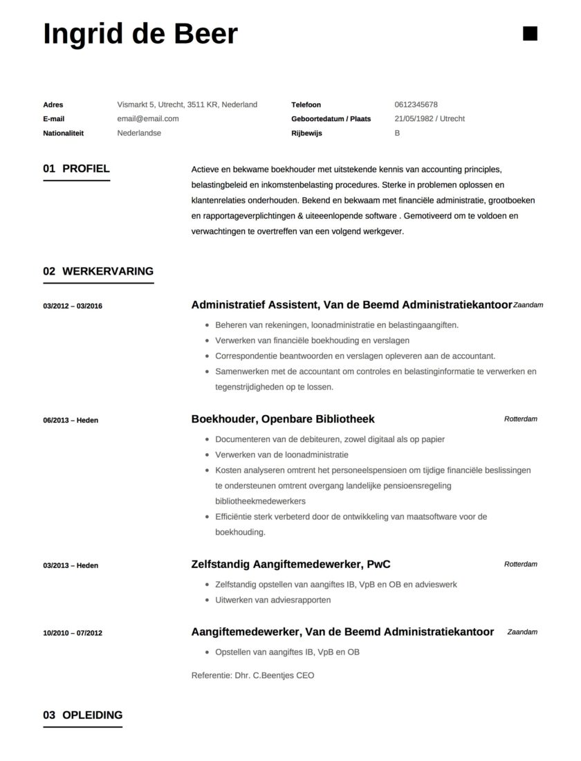Voorbeeld CV Boekhouder
