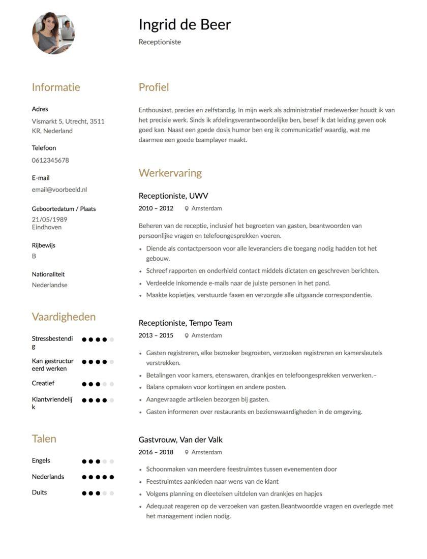 CV Receptioniste Voorbeeld