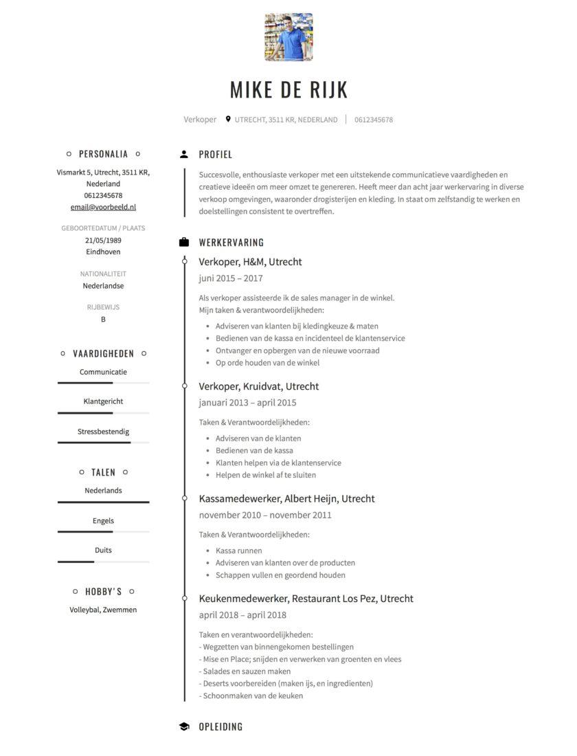 CV Voorbeeld Verkoopmedewerker | Solliciteer.net