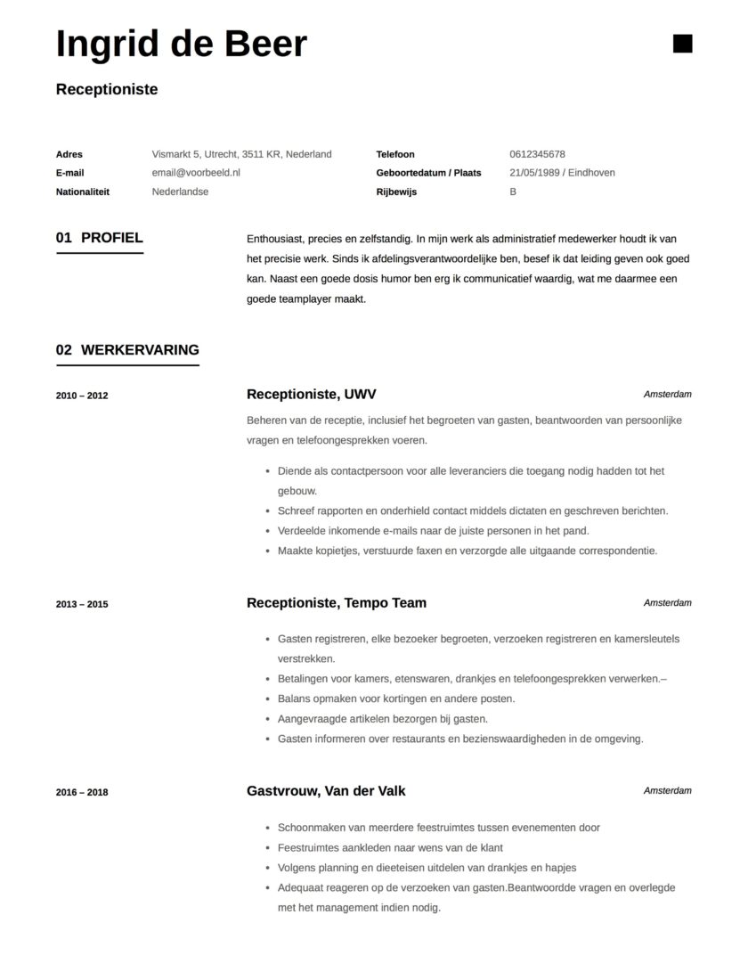 Ingrid de Beer Receptioniste CV