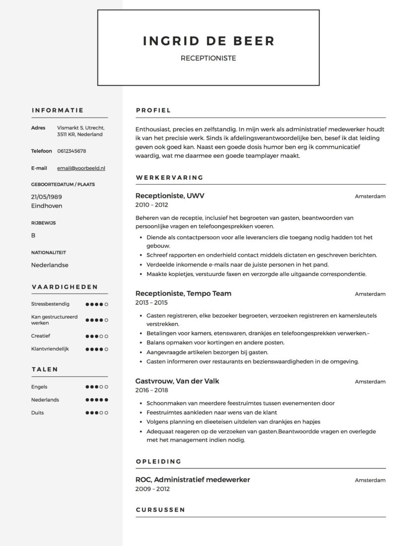 Voorbeeld CV Receptionist