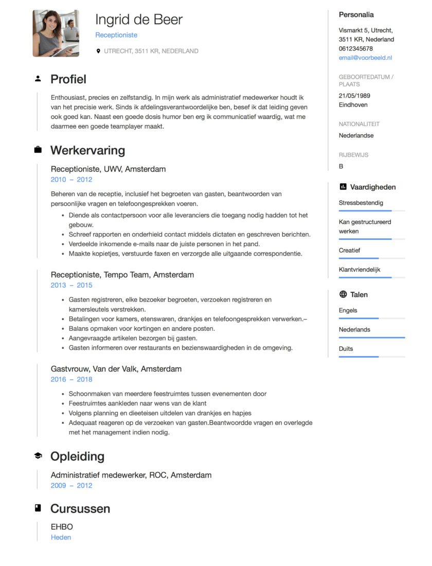 12x Gratis Voorbeeld CV Receptioniste | Download of Copy Paste
