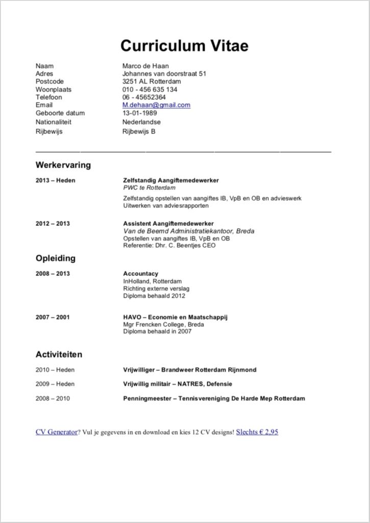 Voorbeeld CV afbeelding