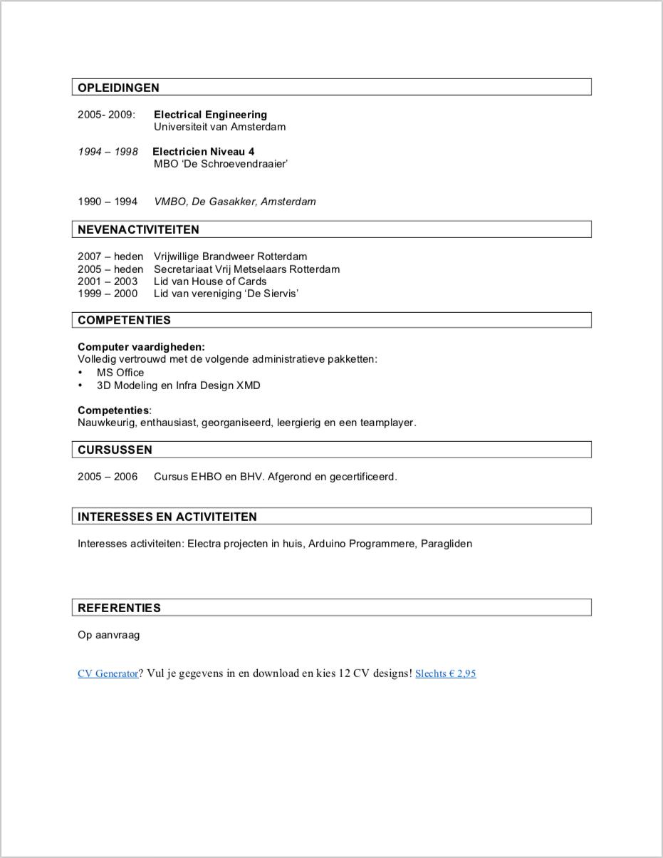 Cv Maken Handleiding Cv Voorbeelden Word Pdf Gratis 2019