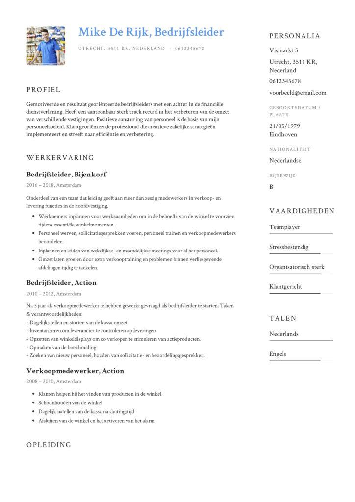 Voorbeeld CV Bedrijfsleider