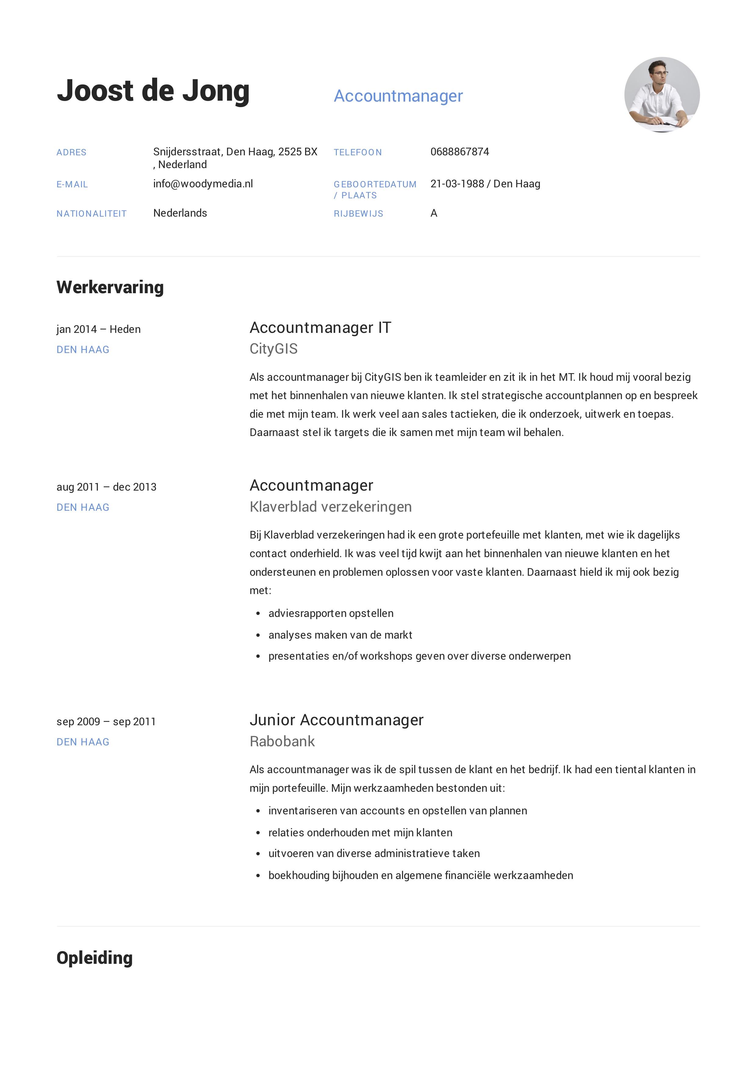 Voorbeeld CV Accountmanager