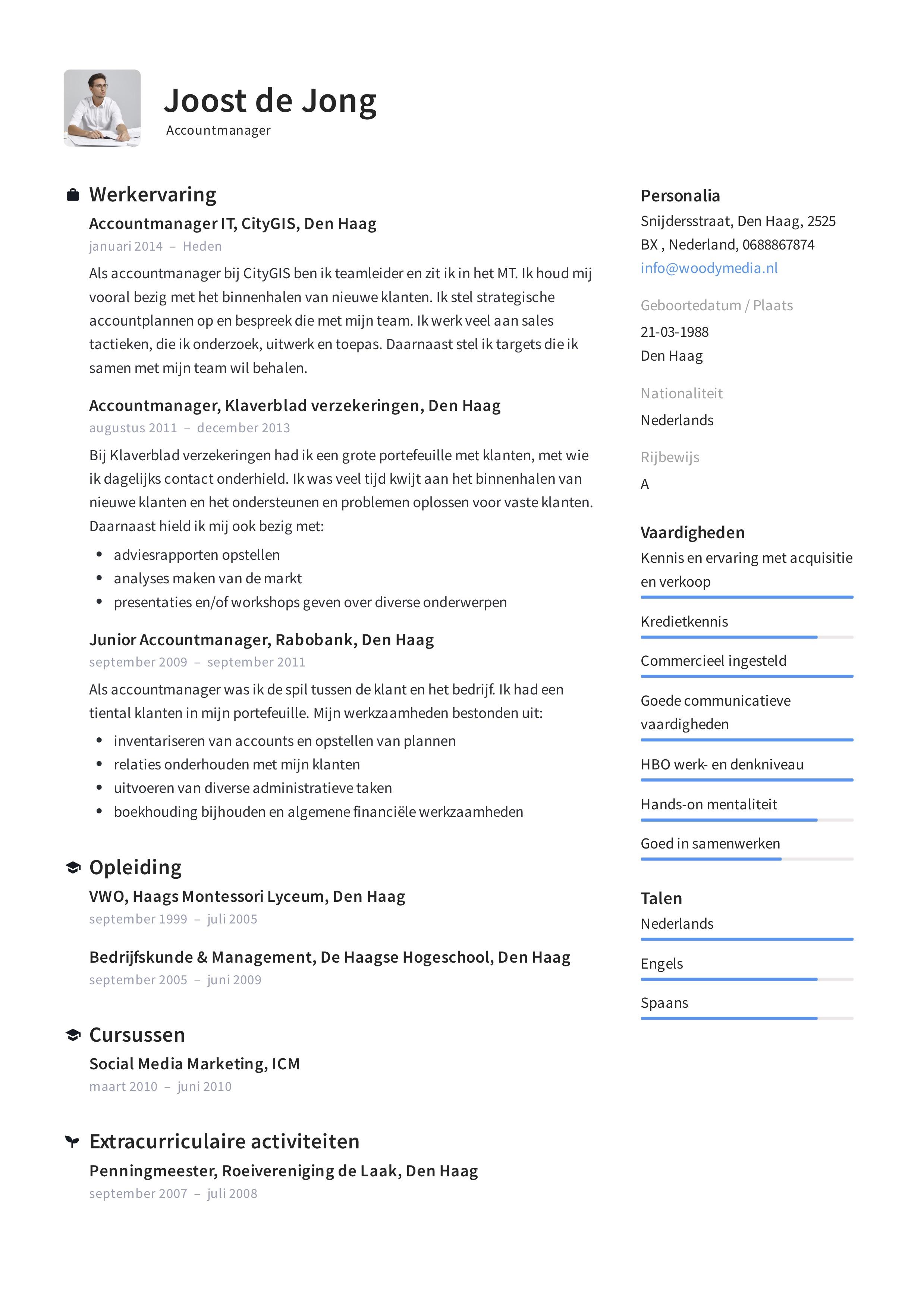 vaardigheden op cv 12x) Accountmanager CV Voorbeeld om jouw CV te perfectioneren
