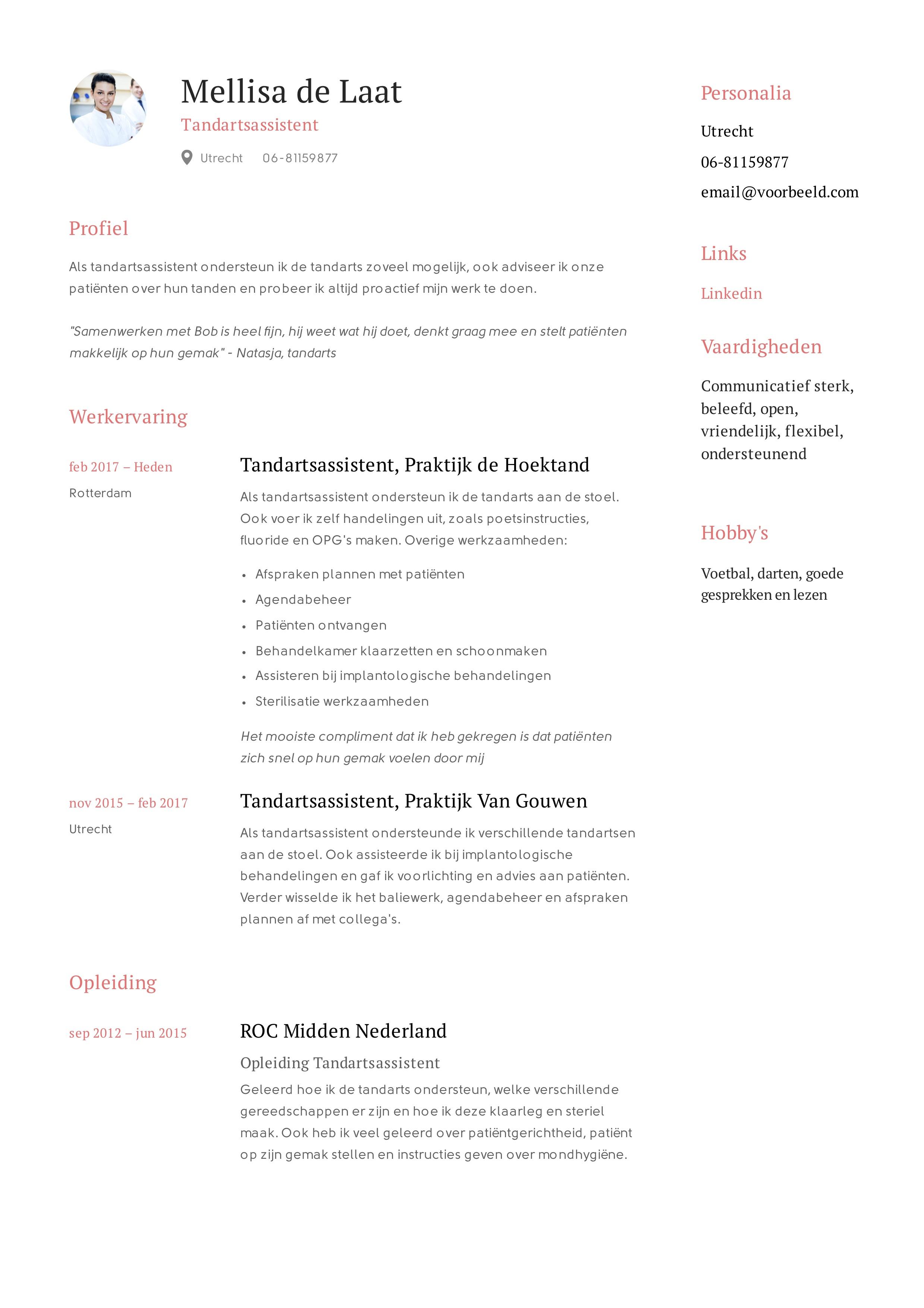 motivatiebrief tandartsassistente 12x) Tandartsassistent CV Voorbeeld en Handleiding | Solliciteer.net