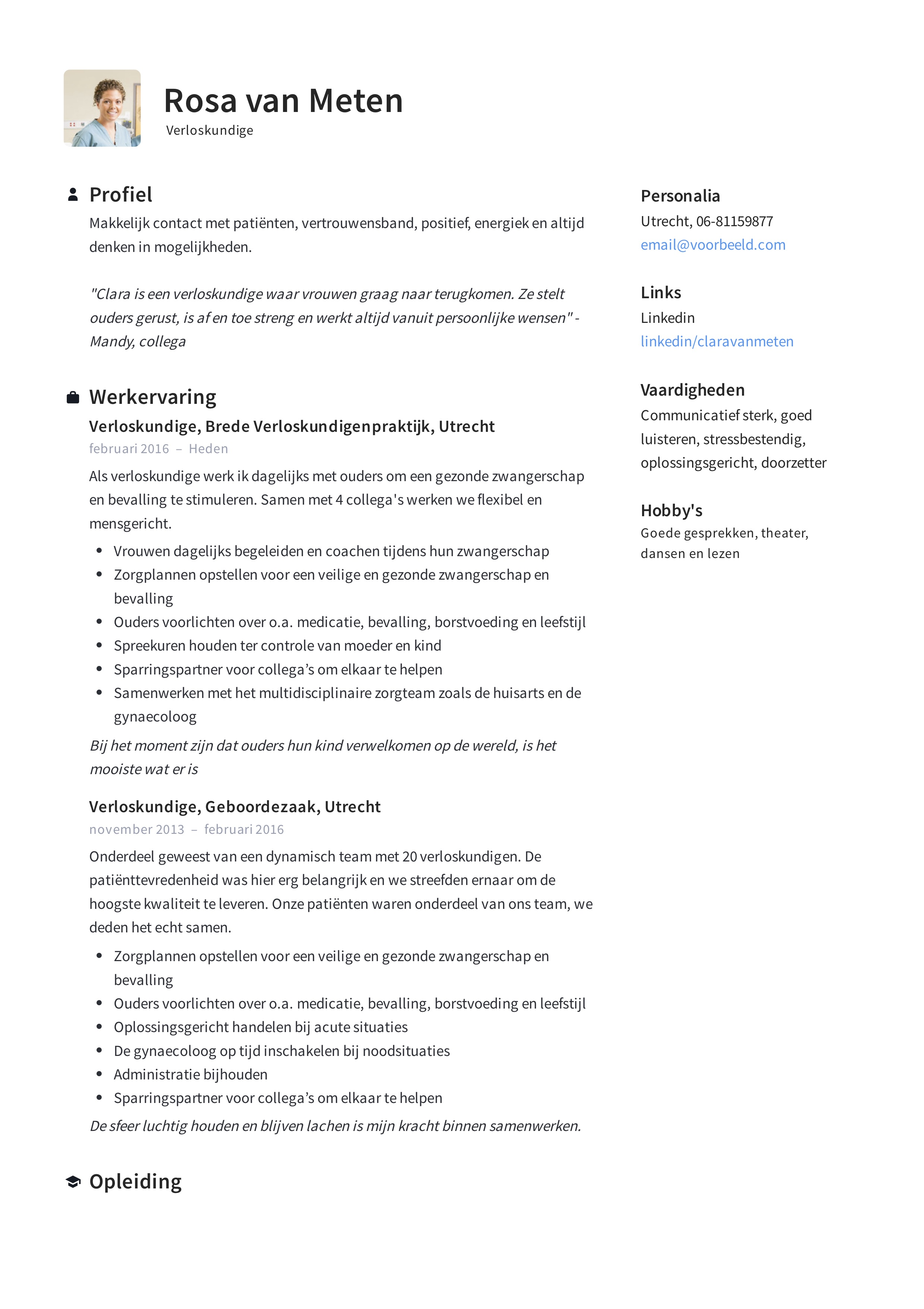 cv opleiding 12x) Verloskundige CV Voorbeeld en Handleiding CV maken