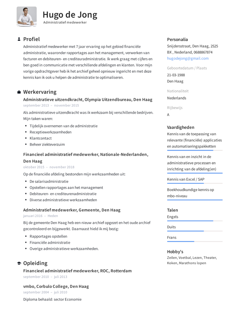 Voorbeeld CV Administratief medewerker (1)
