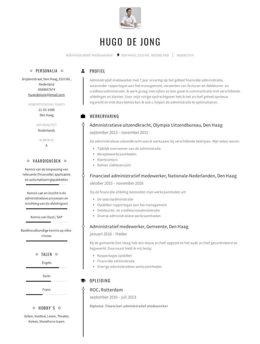 Voorbeeld CV Administratief medewerker (2)