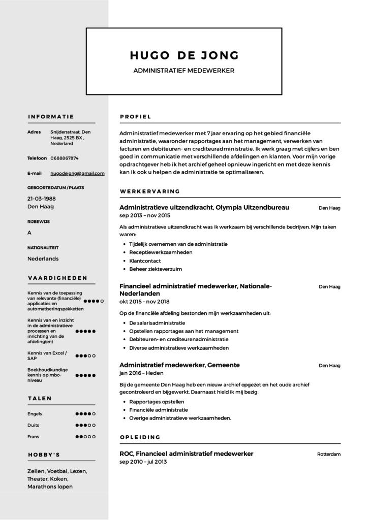 Voorbeeld CV Administratief medewerker (5)