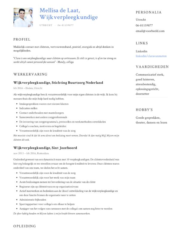 Wijkverpleegkundige CV Voorbeeld