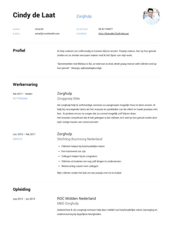 motivatiebrief zorghulp Zorghulp CV Voorbeeld (12x) | Voor een perfect CV | Solliciteer.net