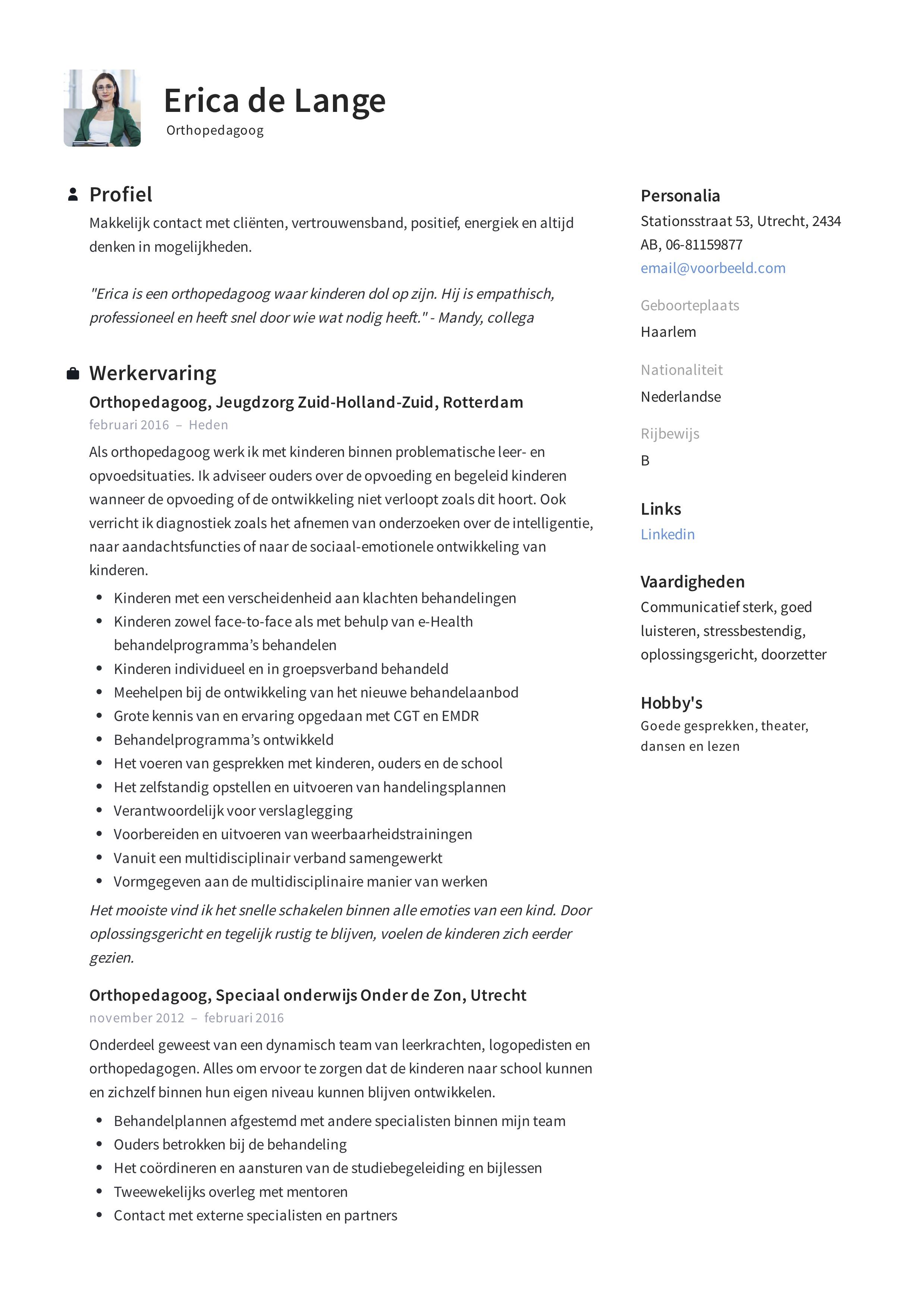 CV Orthopedagoog