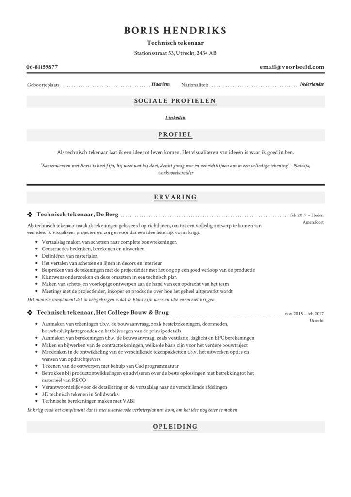 CV Technisch Tekenaar