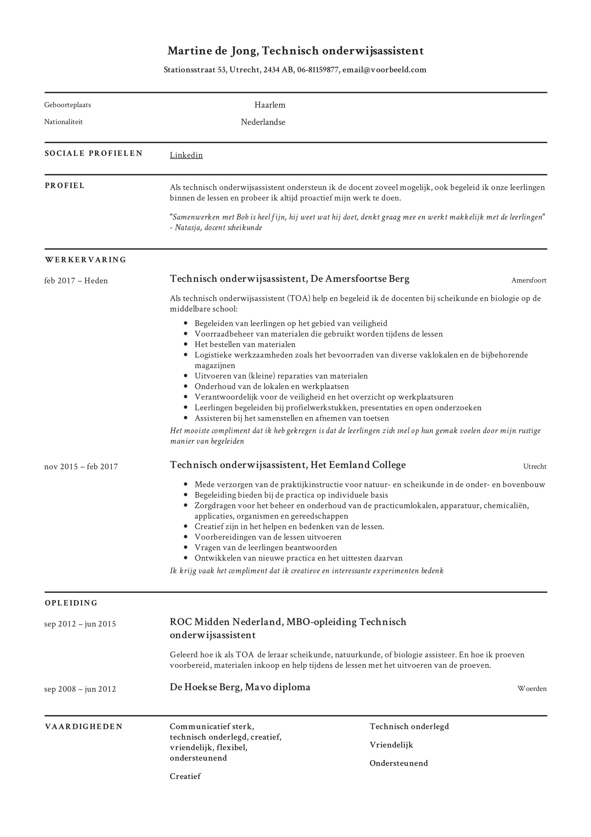 CV Technisch onderwijsassistent