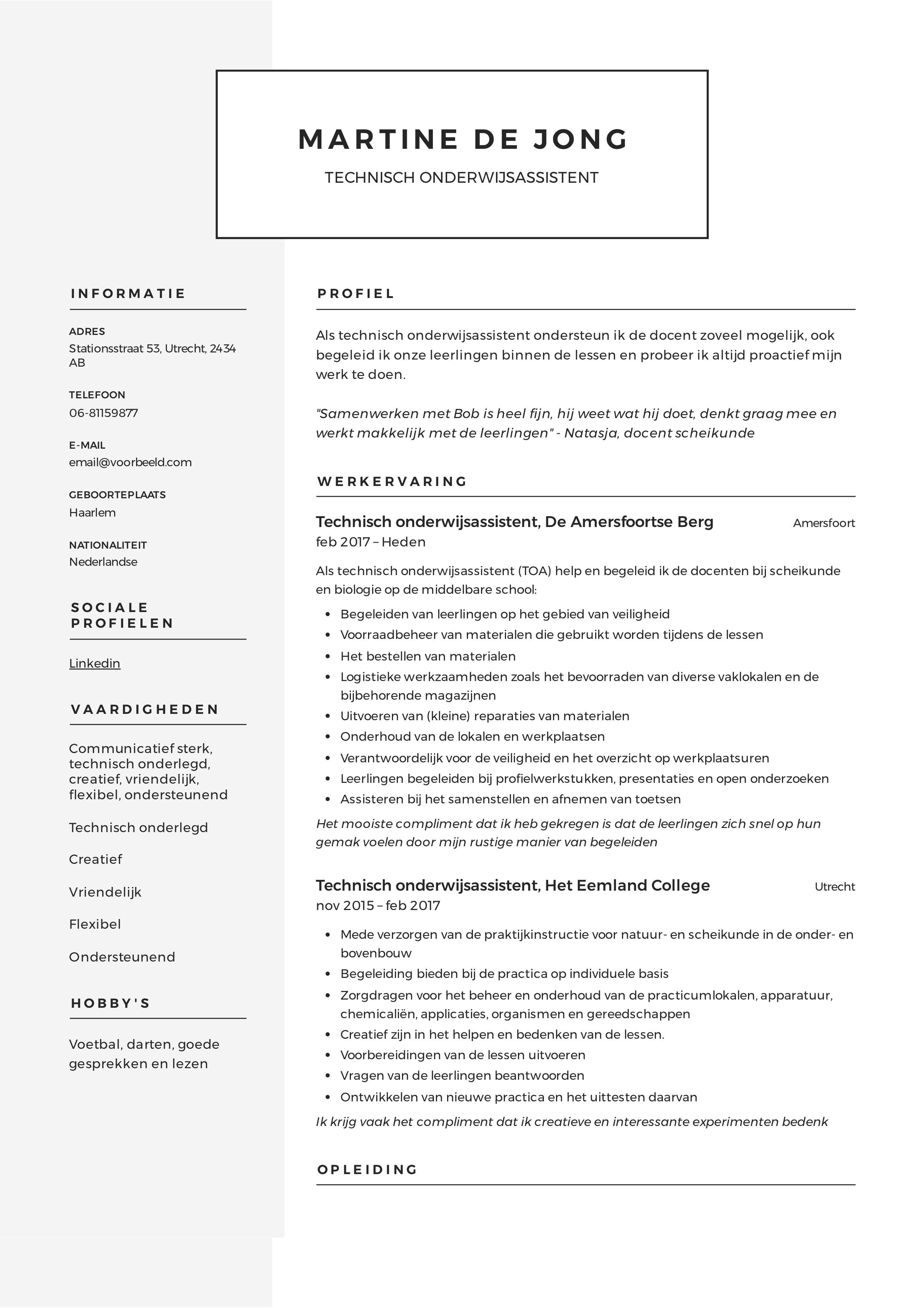 CV onderwijsassistent
