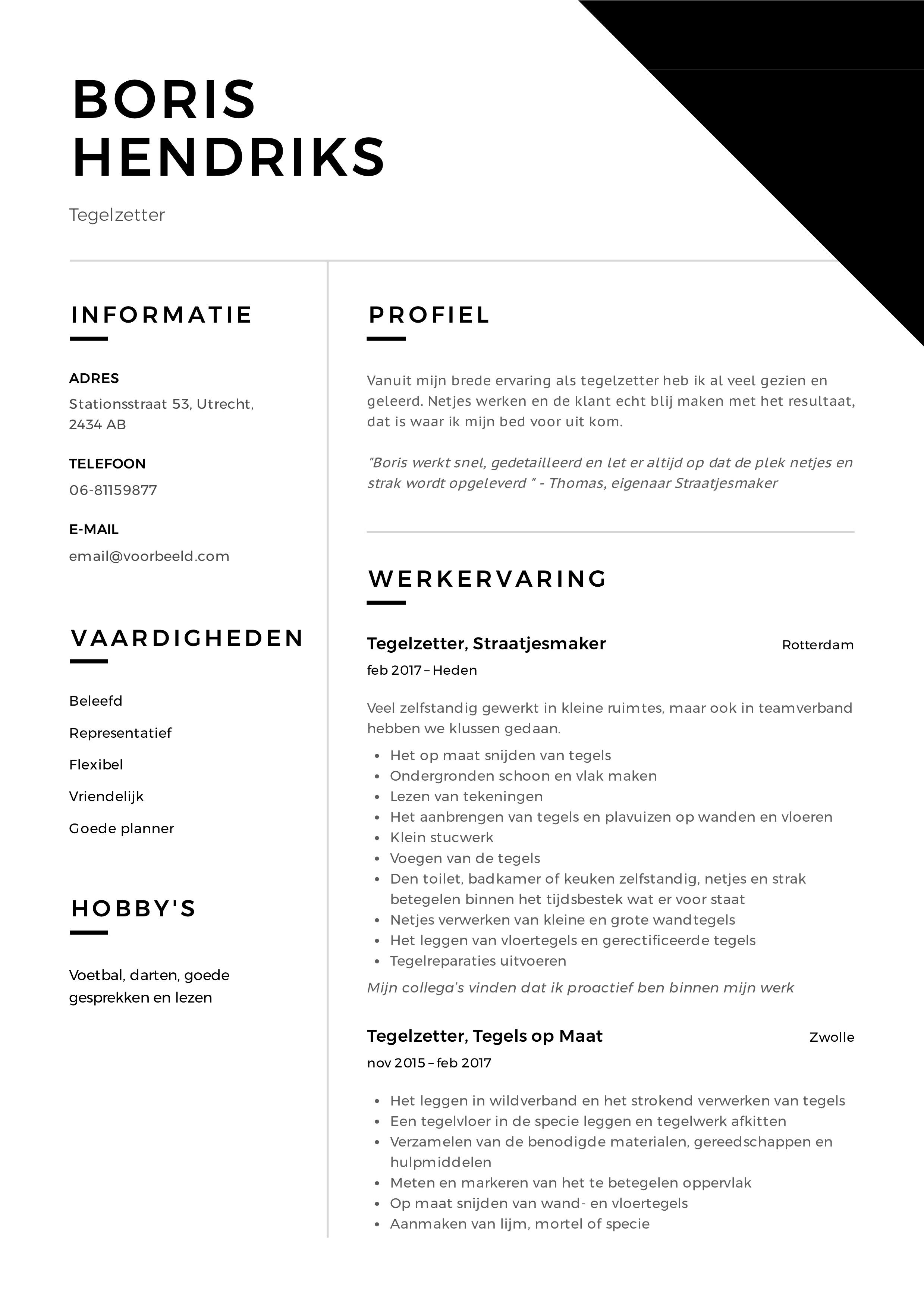 CV Tegelzetter voorbeeld