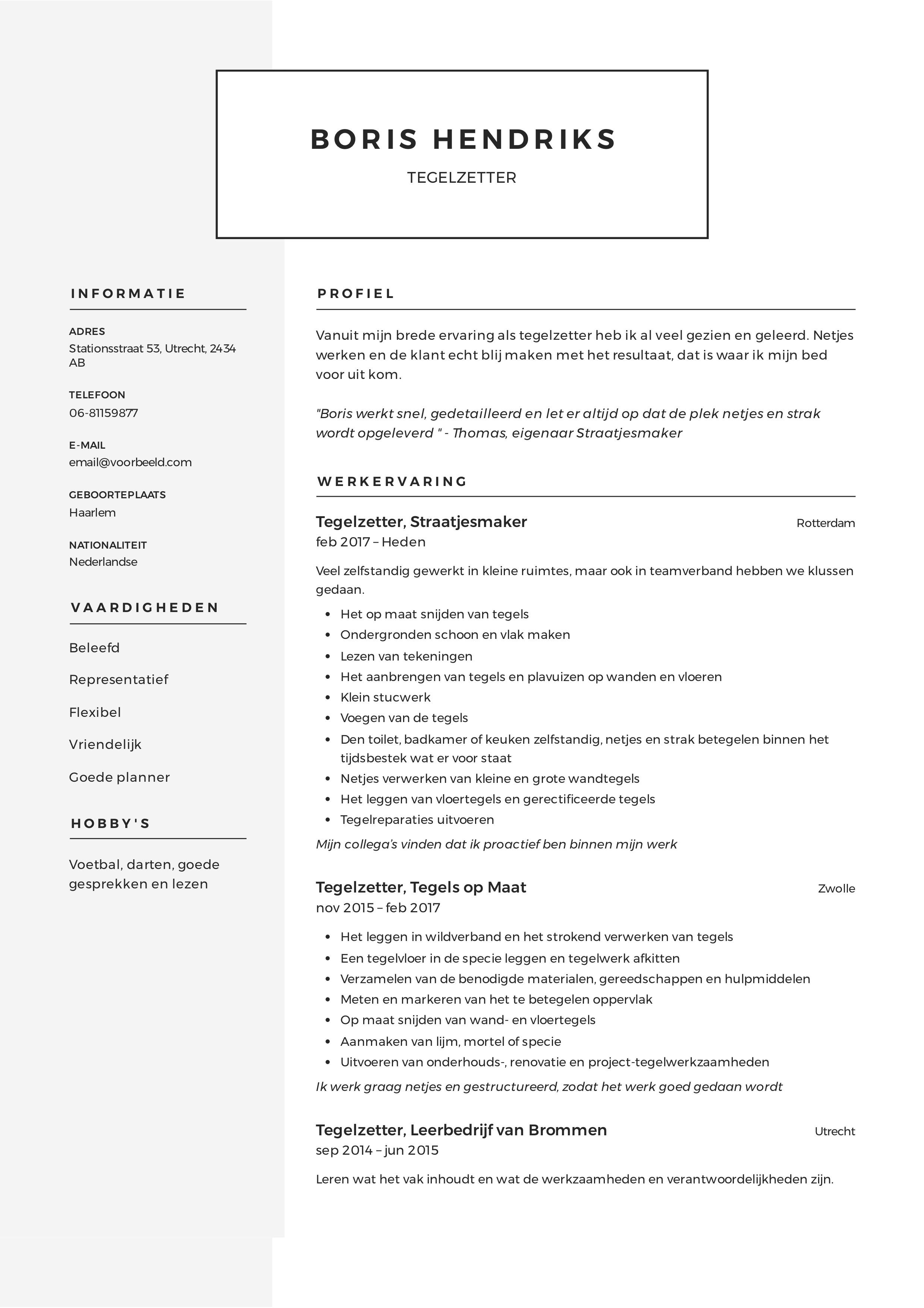 CV Tegelzetter