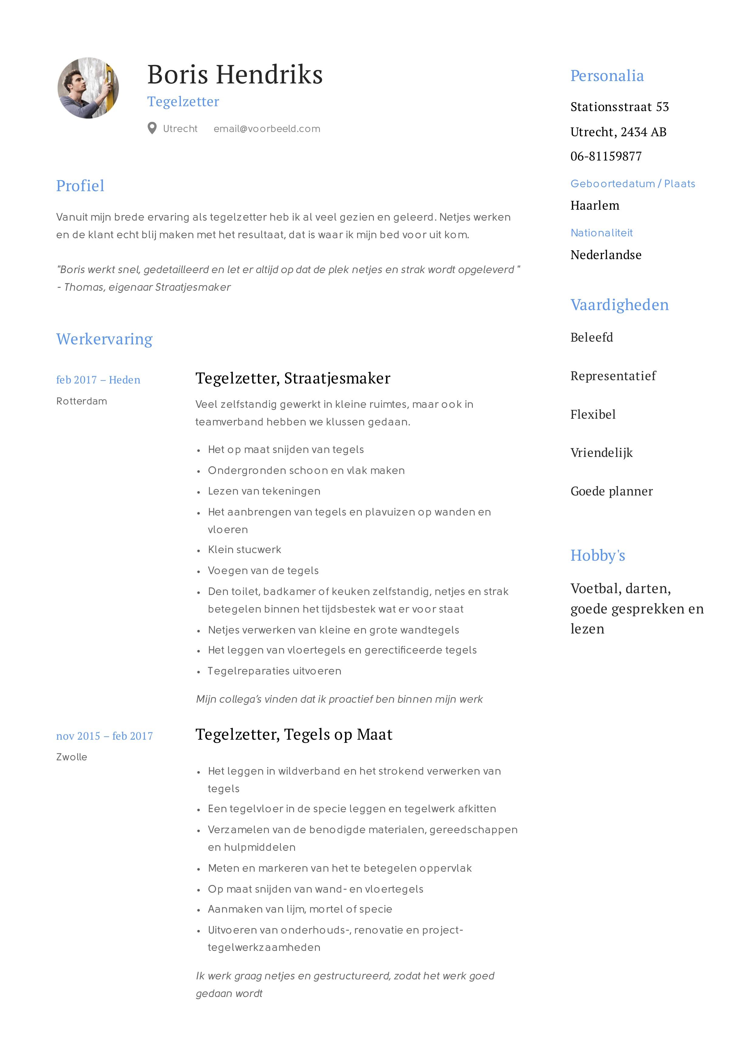 voorbeeld CV Tegelzetter