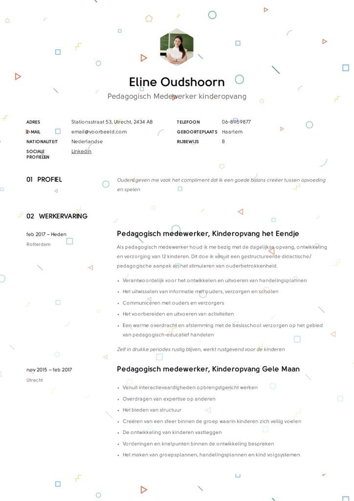 CV Pedagogisch medewerker kinderopvang