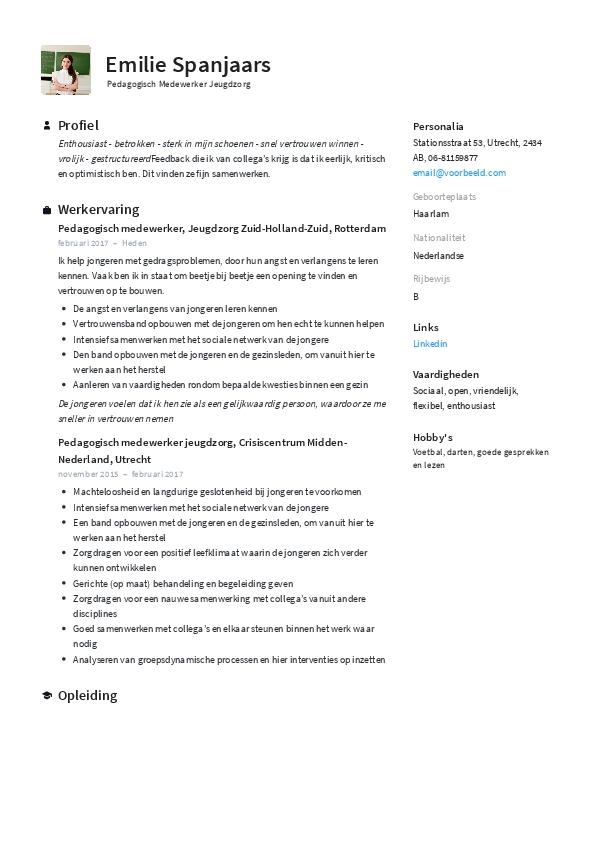 CV Pedagogisch Medewerker Jeugdzorg
