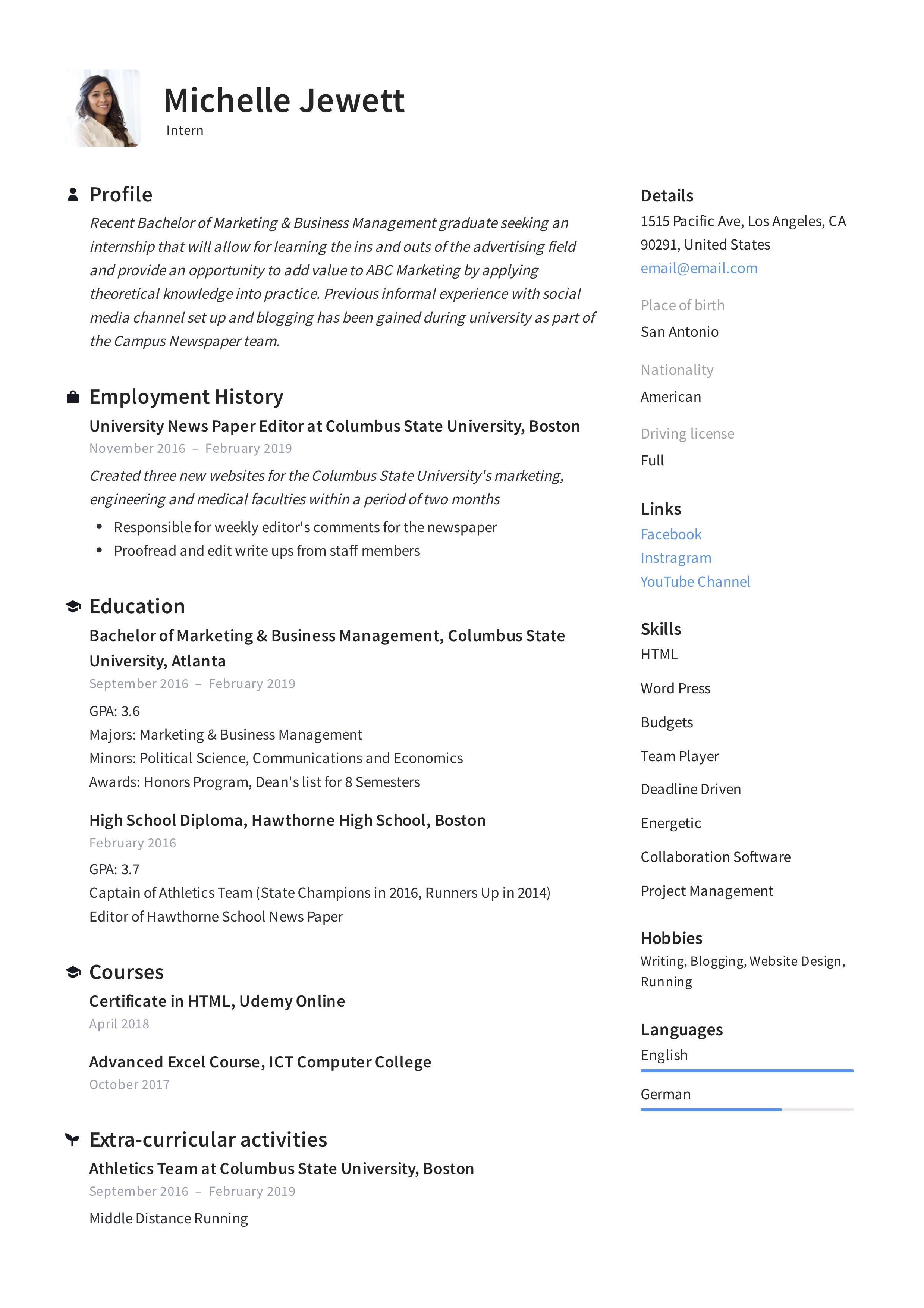 Internship Intern Resume Example