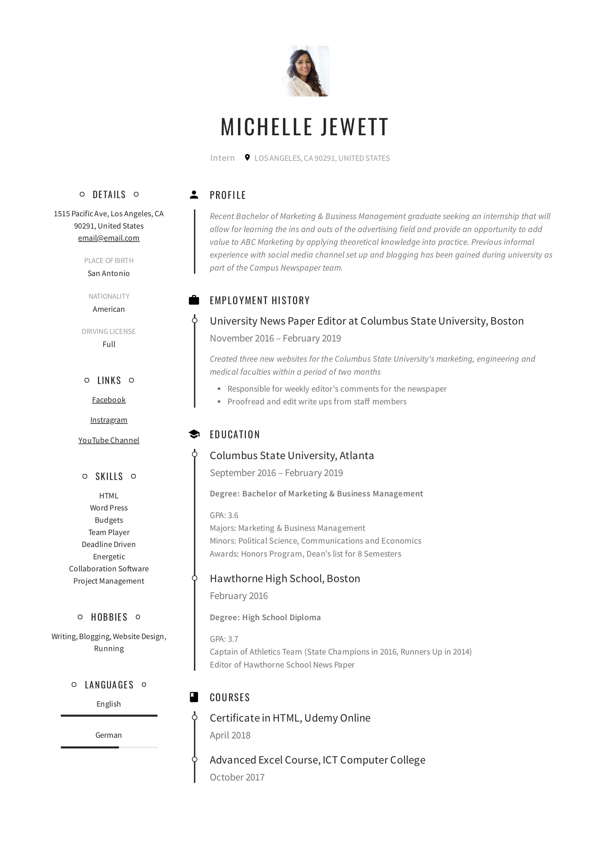 Internship Intern Resume Example (1)