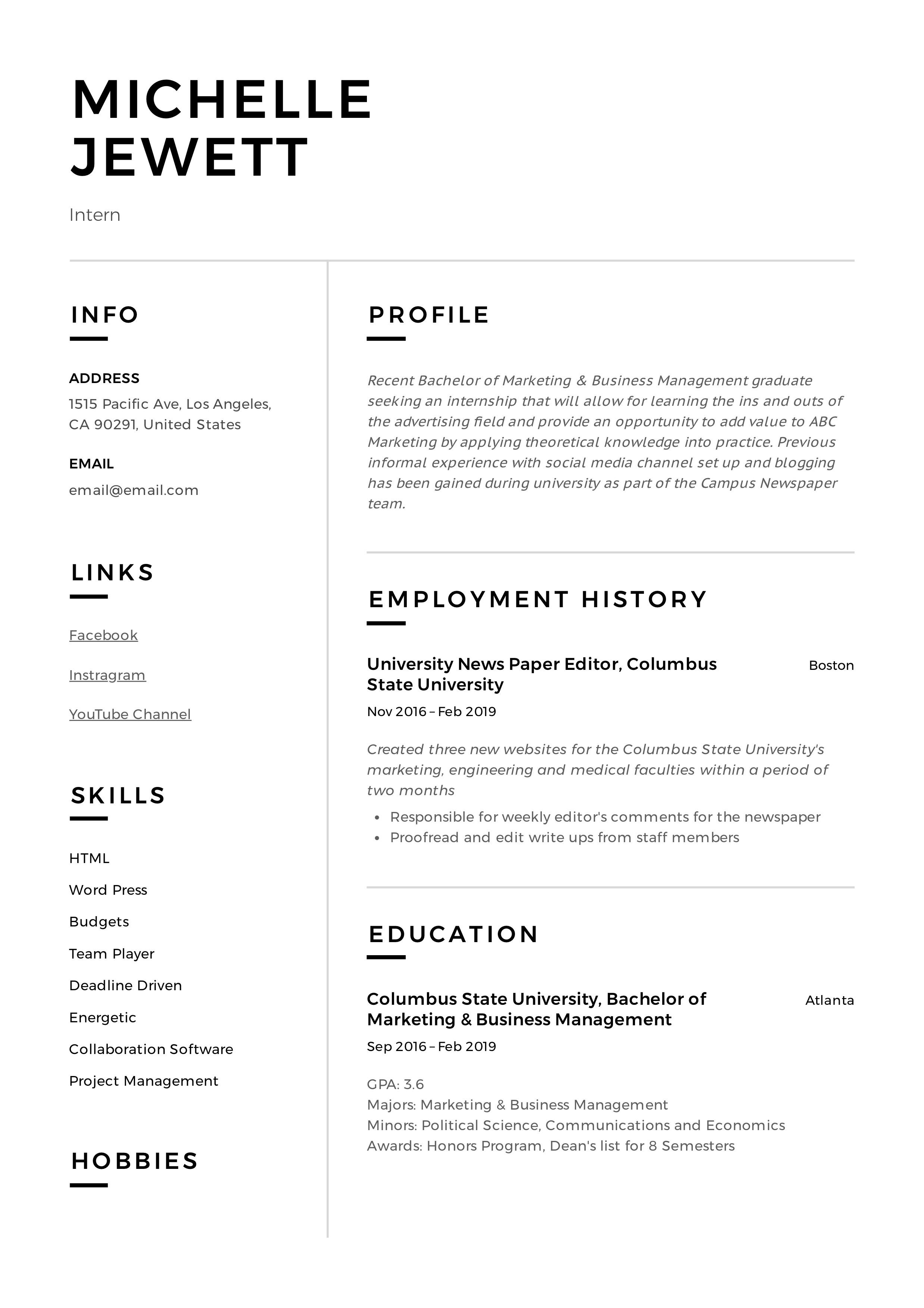 Internship Intern Resume Example (11)