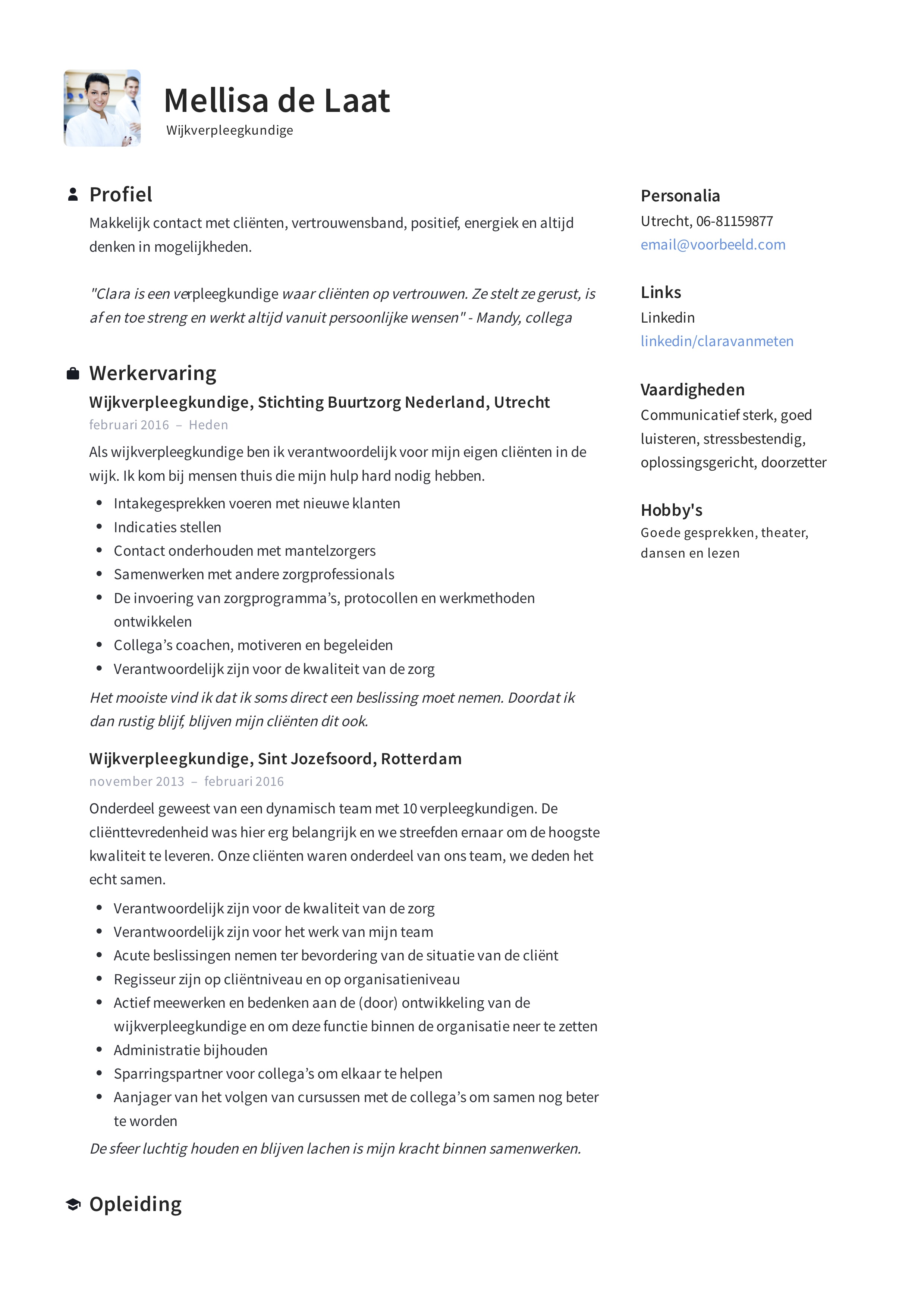 Mellisa_de_Laat_-_CV_-_Wijkverpleegkundige