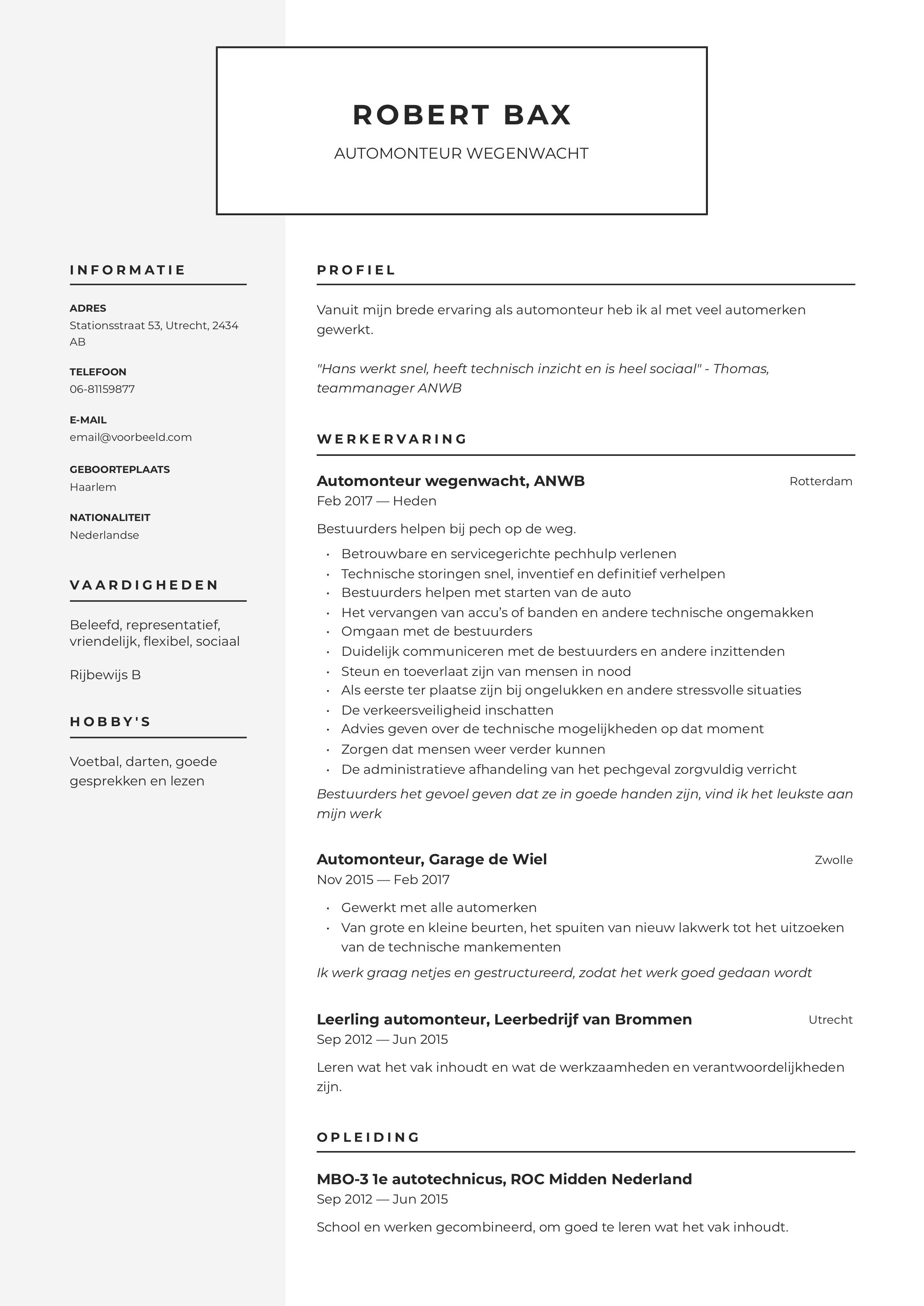 CV Automonteur wegenwacht