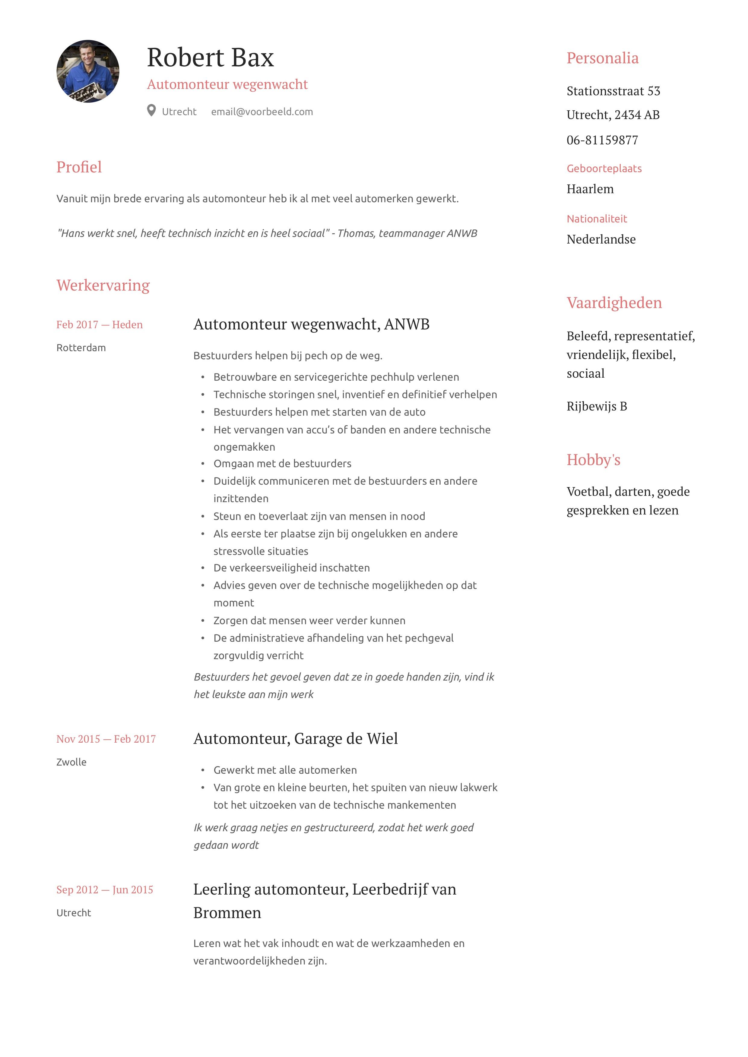 Automonteur wegenwacht CV Voorbeeld